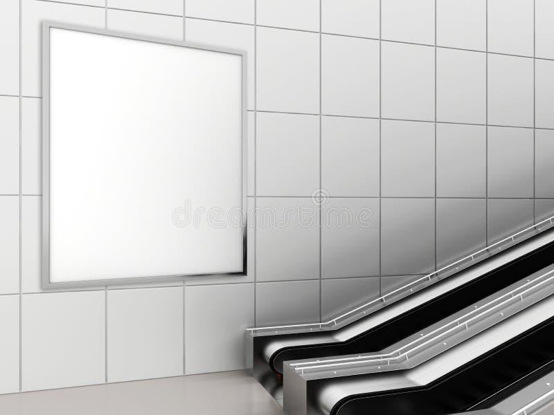 海报媒介模板广告显示的嘲笑在地铁站自动扶梯 3d翻译 免版税库存照片