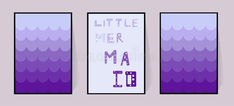 海报小的美人鱼 紫罗兰色梯度尾巴背景和题字 传染媒介手凹道 墙壁的装饰元素 例证 皇族释放例证