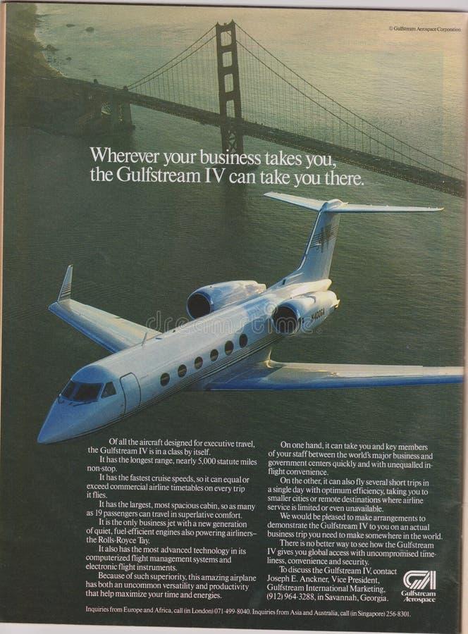 海报广告杂志的Gulfstream航空航天从1992年,无论哪里您的事务采取您,Gulfstream IV可能采取您口号 免版税库存照片