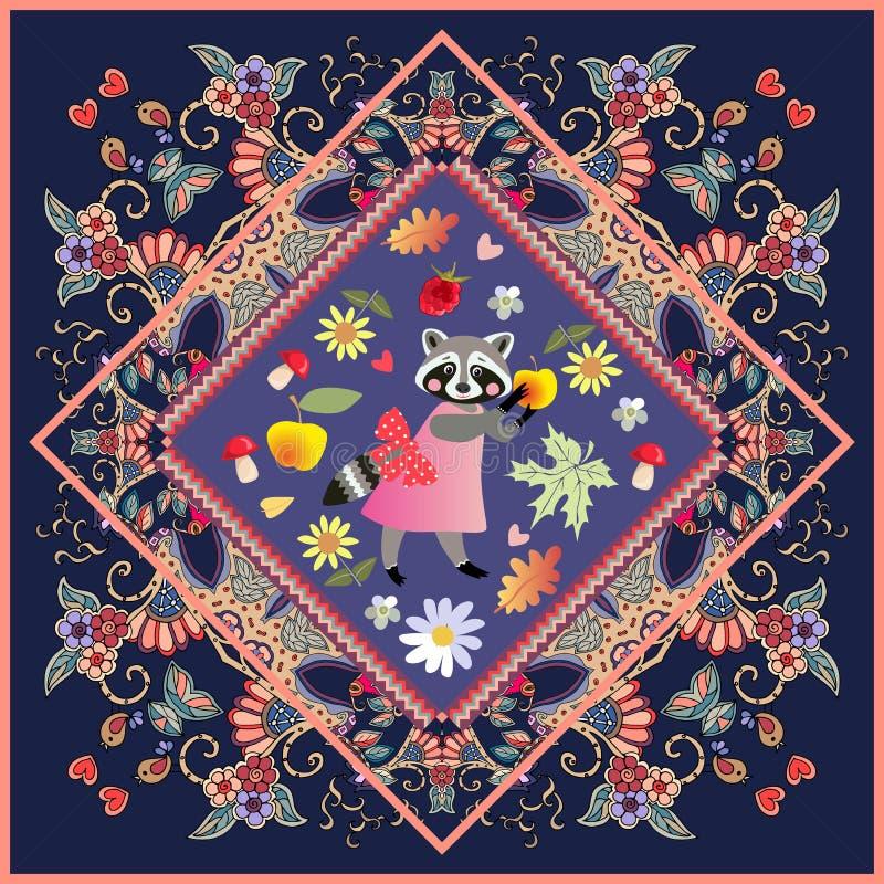 海报或地毯有逗人喜爱的动画片动物的在美丽的装饰品 浣熊-桃红色礼服的女孩有弓和黄色苹果的 向量例证