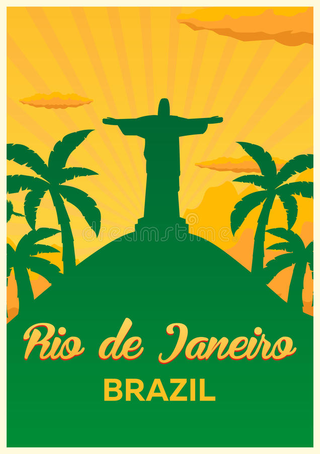 海报旅行向巴西,里约热内卢地平线 也corel凹道例证向量 库存例证