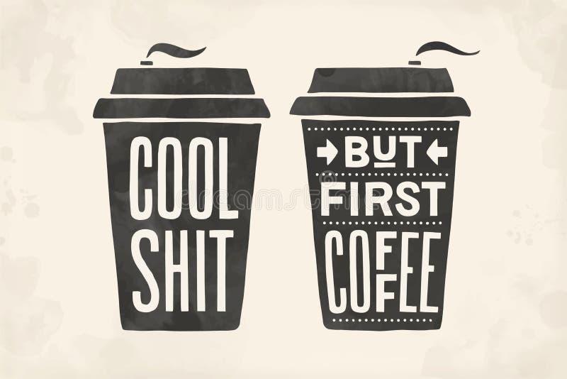 ?? 海报有手拉的字法的咖啡杯 库存例证