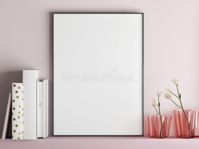 海报框架的嘲笑在简单派玫瑰色墙壁上 皇族释放例证