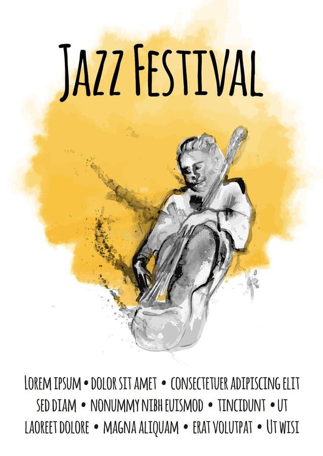 海报模板爵士乐音乐会的 播放低音提琴的人 库存例证