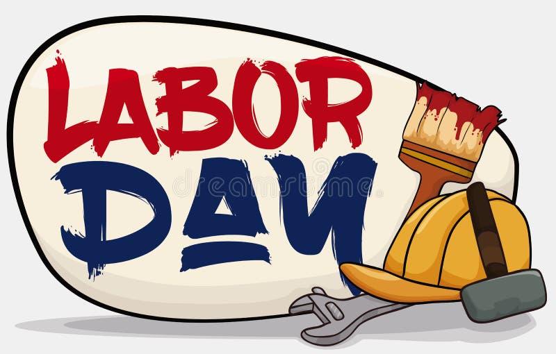 海报用庆祝劳动节的工作者设备,传染媒介例证 库存例证