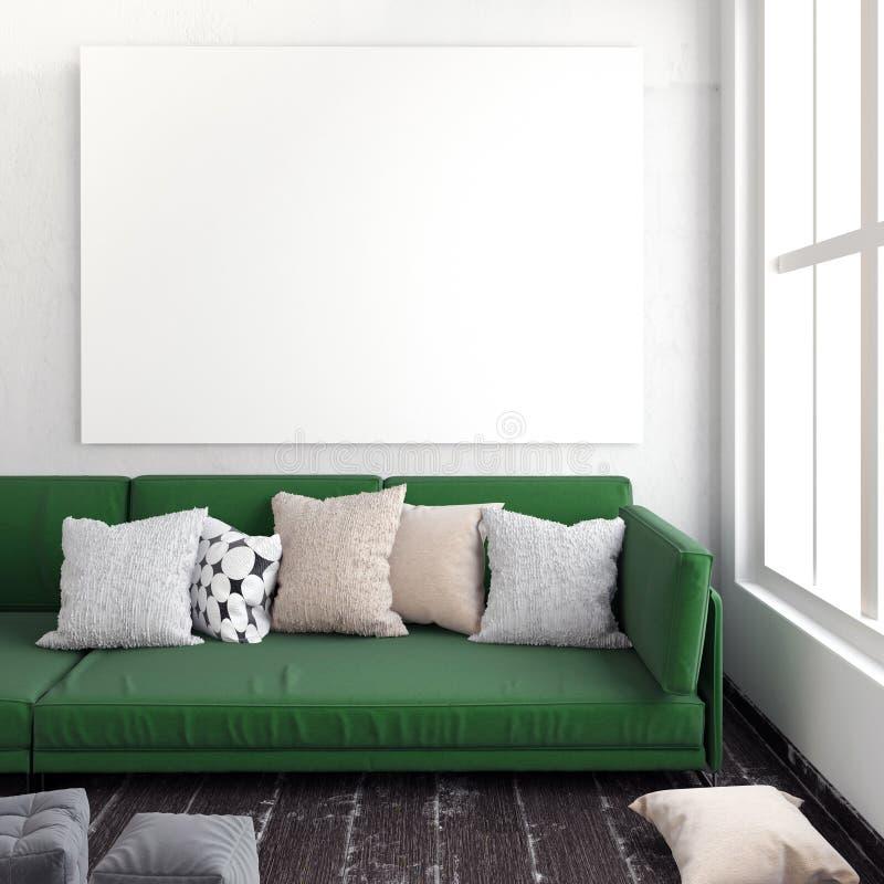海报的嘲笑在与沙发的内部 有角正餐内部客厅沙发无盖货车 休息的plac 向量例证