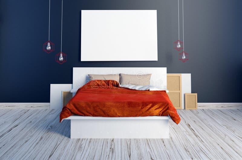 海报的嘲笑在卧室内部 卧室行家样式 3D我 向量例证
