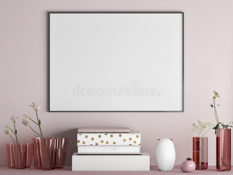 海报的嘲笑在有装饰的简单派玫瑰色墙壁上 向量例证