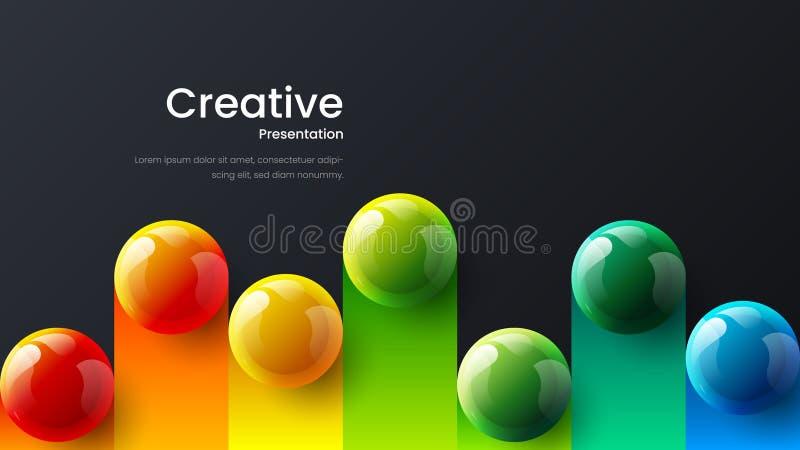 海报的,飞行物,杂志,学报,小册子,书套令人惊讶的抽象传染媒介3D五颜六色的球例证模板 库存例证