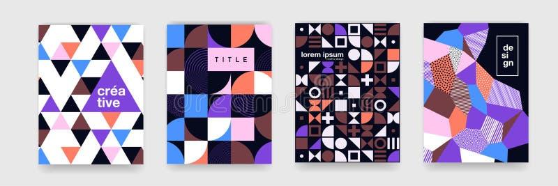 海报盖子设计的几何样式背景纹理 与圈子的最小的颜色传染媒介横幅模板,正方形 向量例证