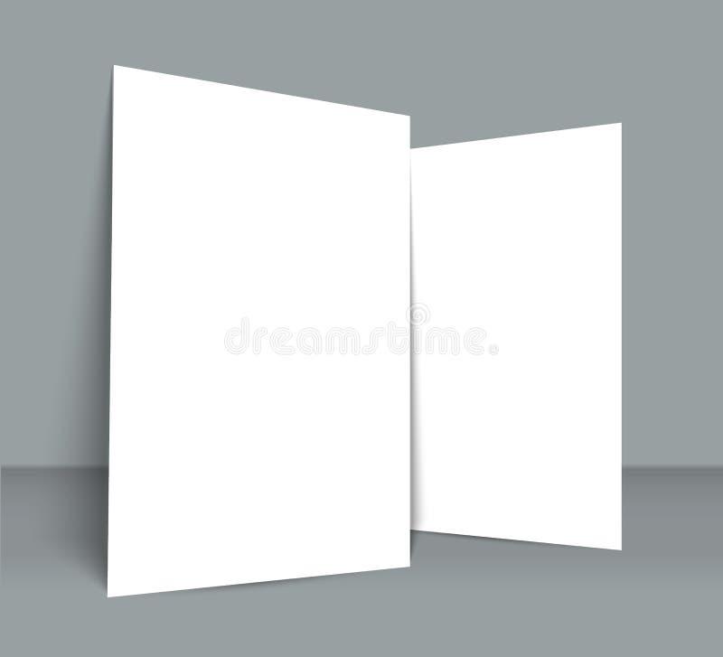 海报空白的双折叠小册子大模型盖子模板 库存例证