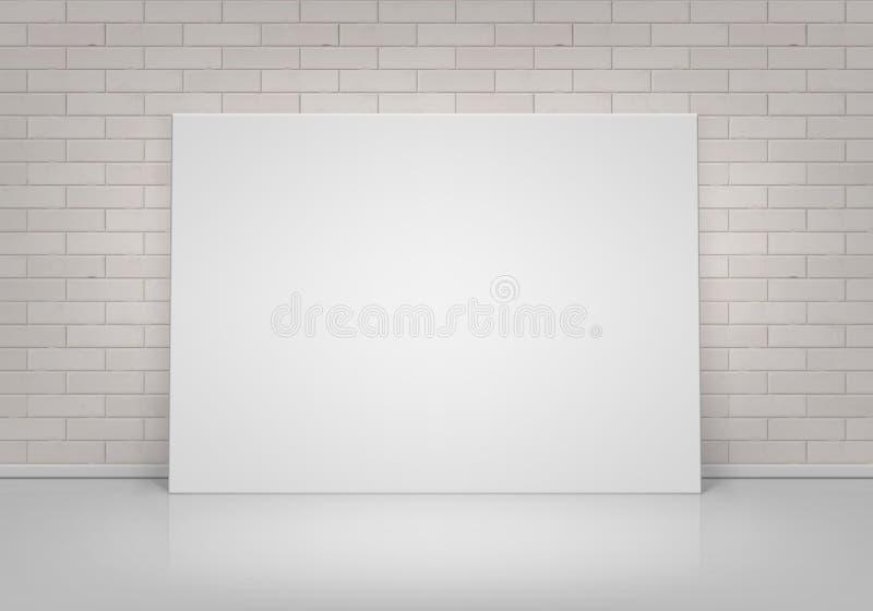 海报站立在地板上的画框的传染媒介空的空白嘲笑有砖墙正面图 皇族释放例证