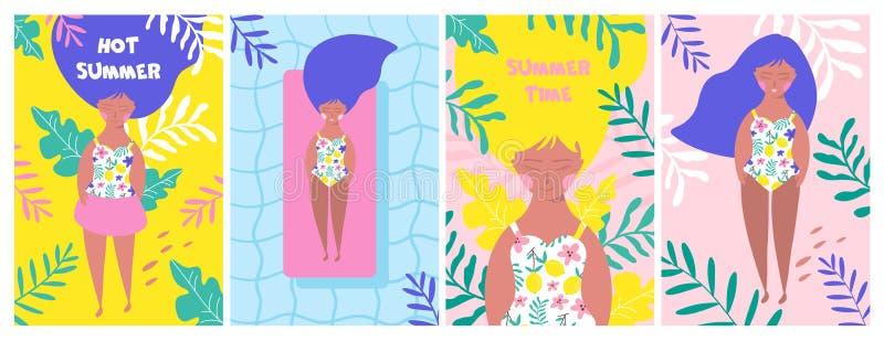 海报设置与海滩的放松的女孩 ?? 向量例证