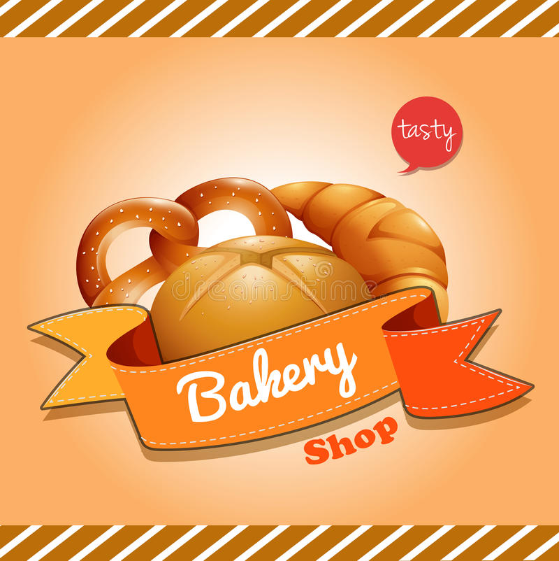 海报设计用被烘烤的面包 库存例证