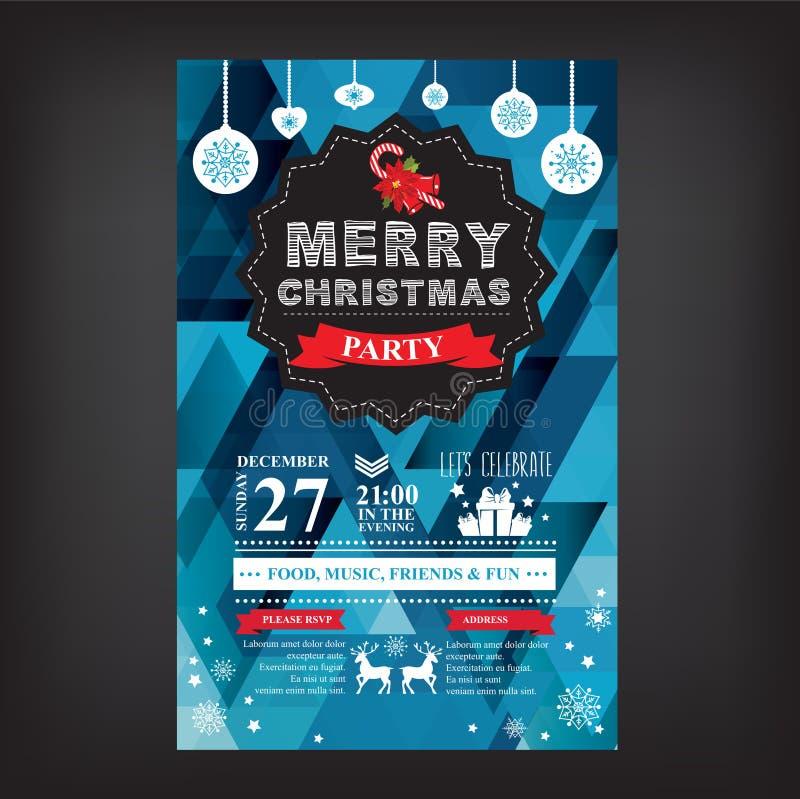 海报邀请圣诞快乐 库存例证