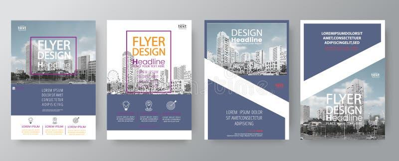 海报飞行物小册子盖子布局设计模板的汇集 皇族释放例证