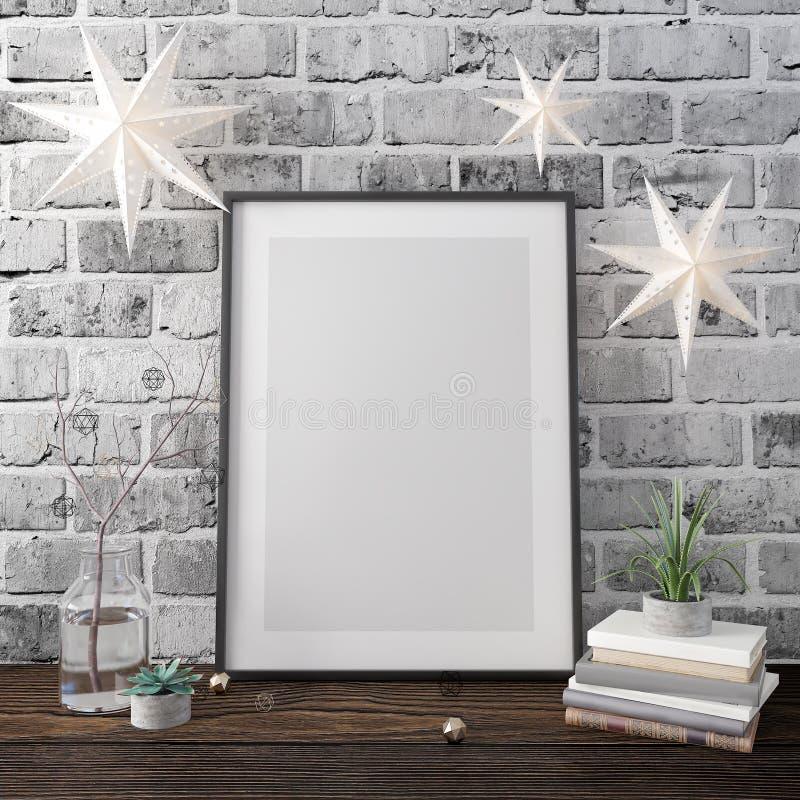 海报,圣诞装饰,新年,3d的嘲笑回报 免版税库存图片