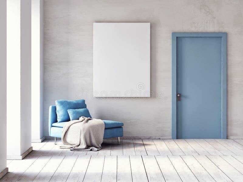 海报,有舒适的沙发的简单派客厅的嘲笑 向量例证