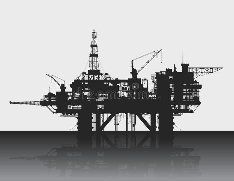 海抽油装置 石油平台在深海 库存例证