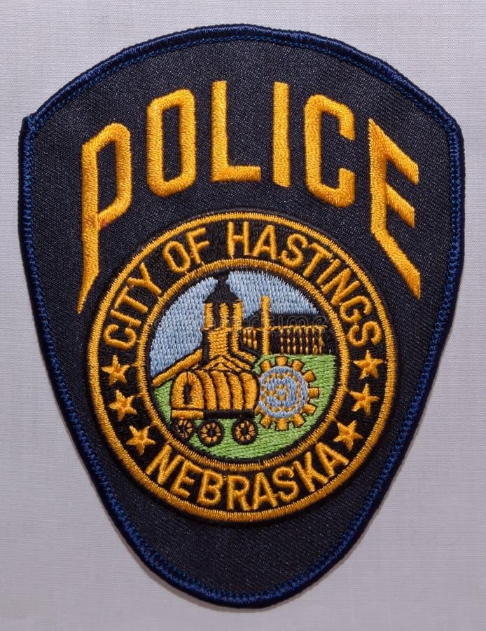 海斯廷斯警察局的肩章在内布拉斯加 库存图片