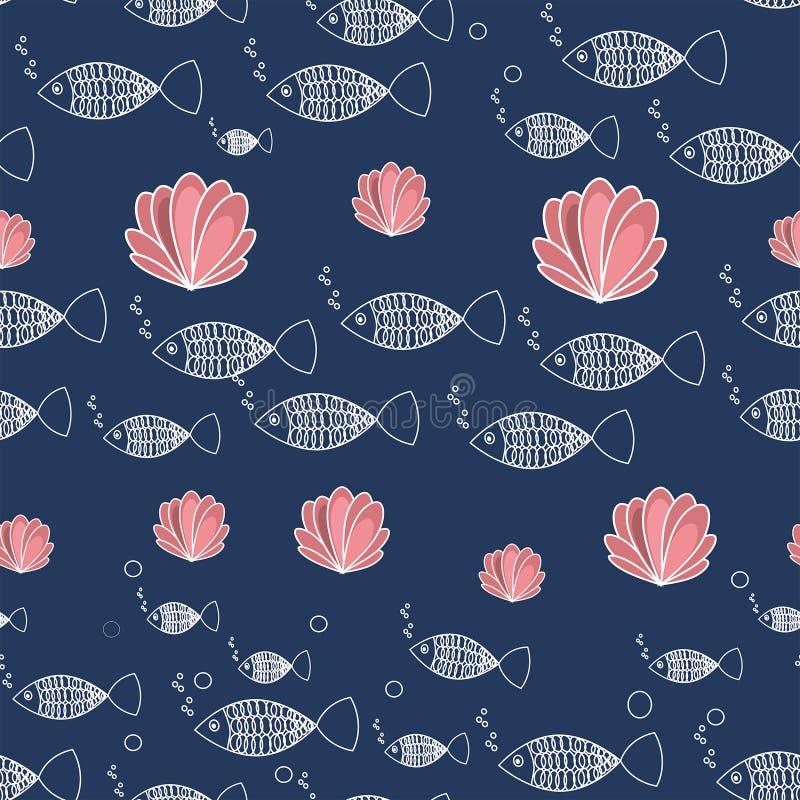 海无缝的样式鱼和珊瑚 向量例证