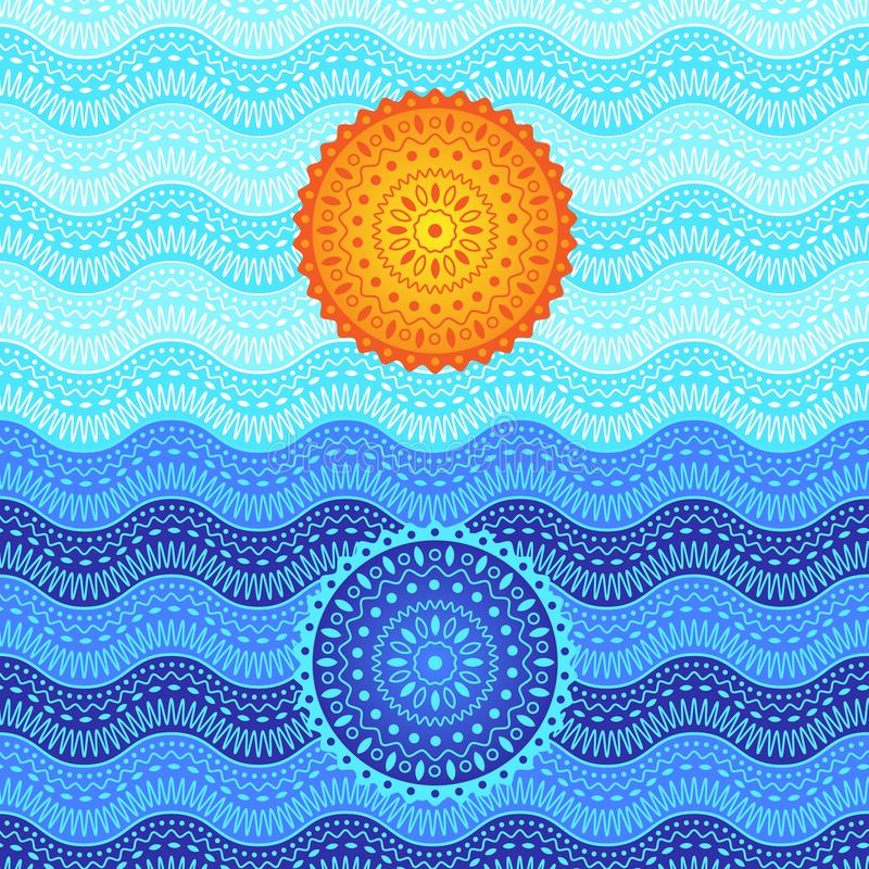 海日落图片 与坛场的抽象印象主义 皇族释放例证