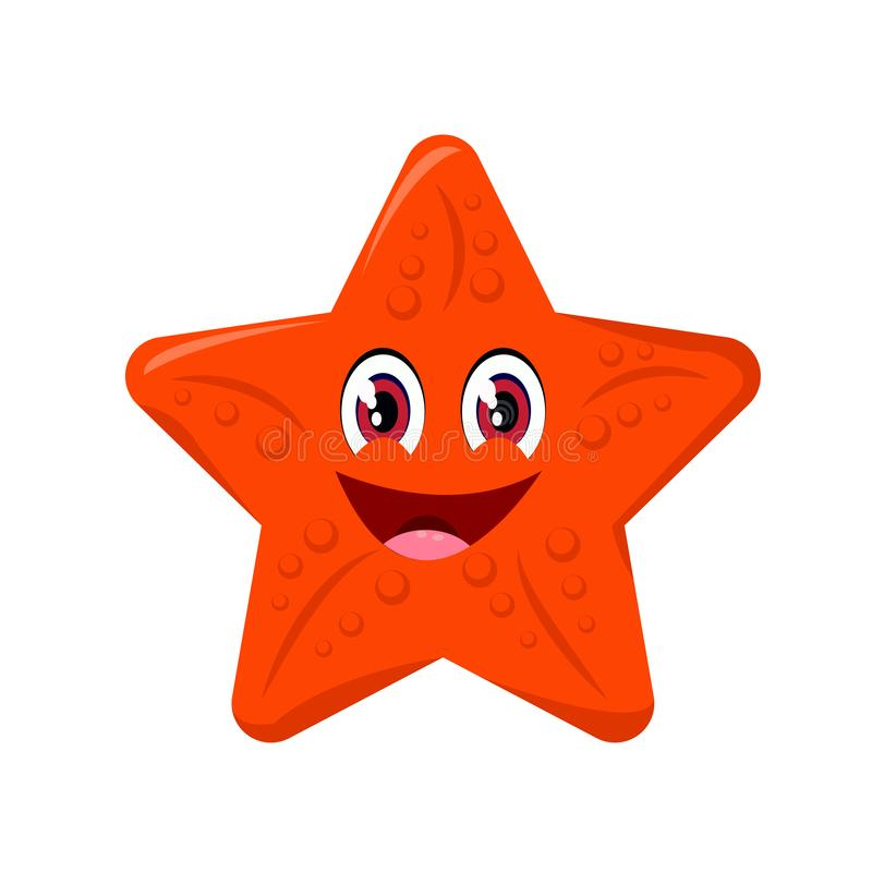 海星动画片或海星在白色背景隔绝的Clipart动画片 皇族释放例证