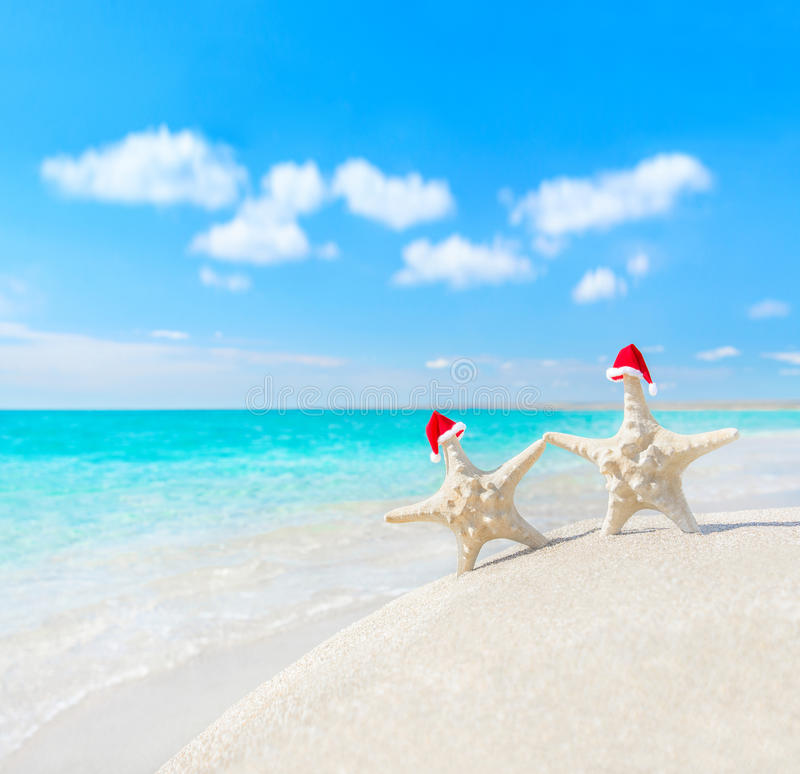 海星在圣诞老人帽子结合在海海滩 新年或基督 免版税库存图片