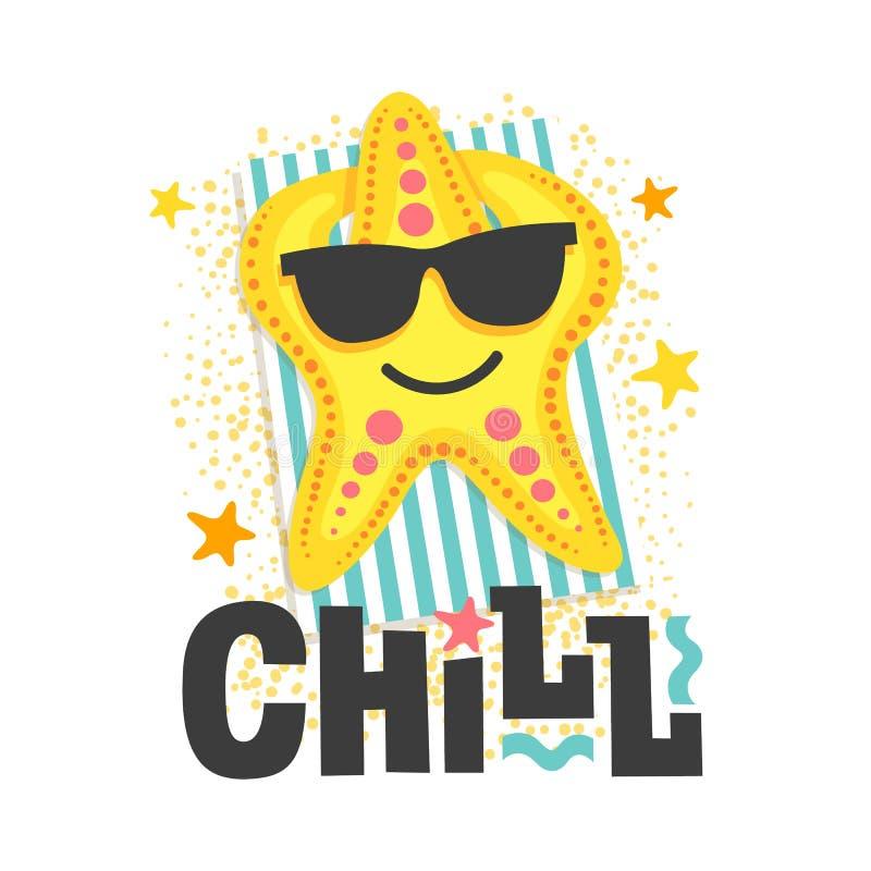 ?? 海星在海滩的玻璃晒日光浴 与滑稽的题字的动画片例证 库存例证