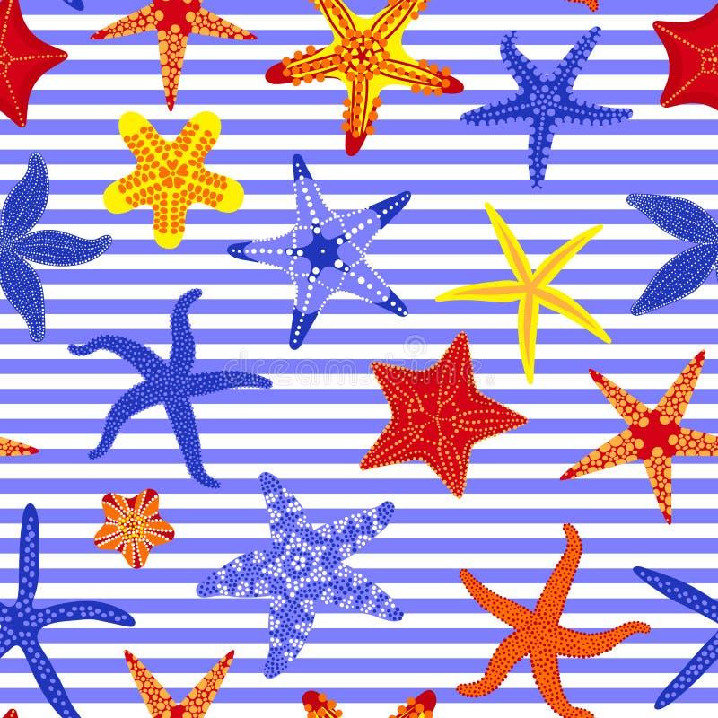 海星无缝的样式 与海星的海洋镶边背景 海星水下的无脊椎动物 向量 向量例证