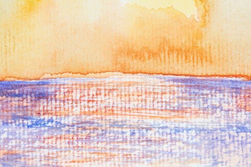 海景和抽象背景水彩在纸 向量例证