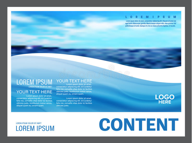海景和蓝天介绍布局设计模板背景旅游业旅行事务的 例证 库存例证
