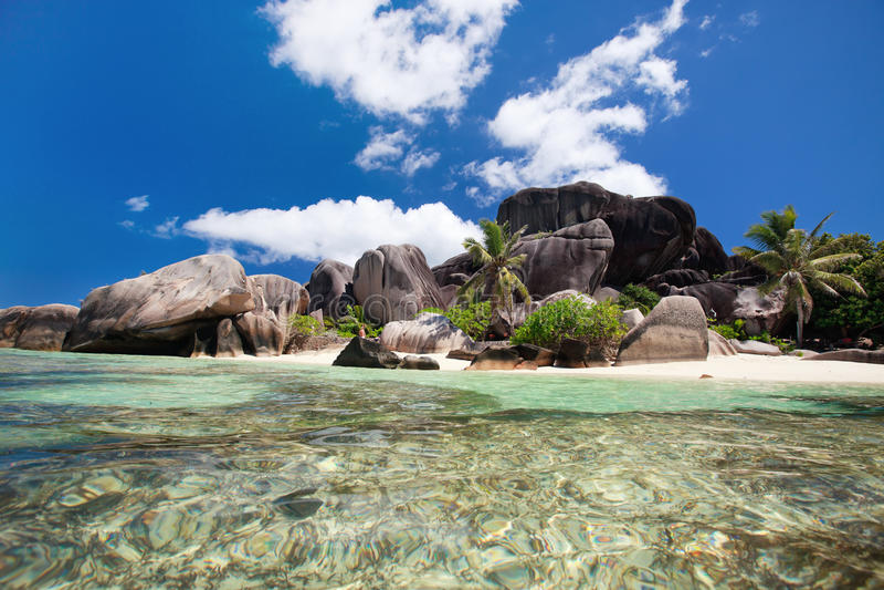 海景塞舌尔群岛 免版税库存照片