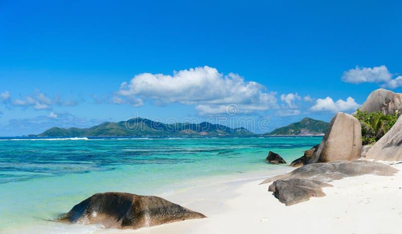 海景塞舌尔群岛 库存照片
