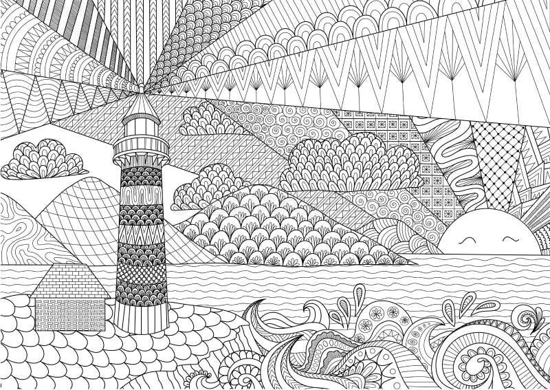 海景彩图的线艺术设计成人的,反重音着色-股票 向量例证