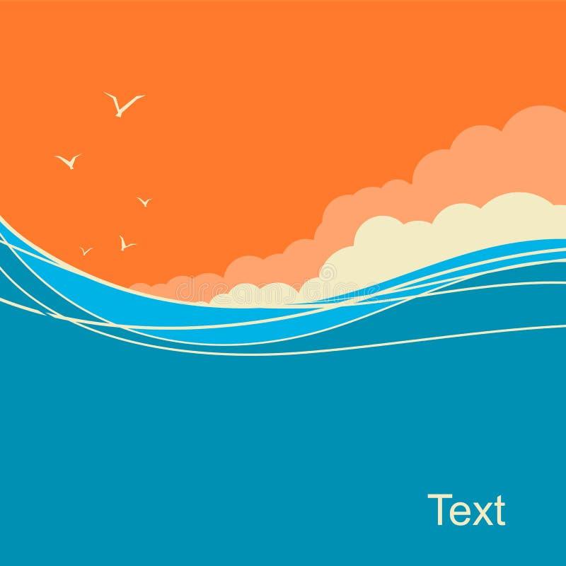 海景文本的传染媒介背景 重点前景海浪通知 库存例证