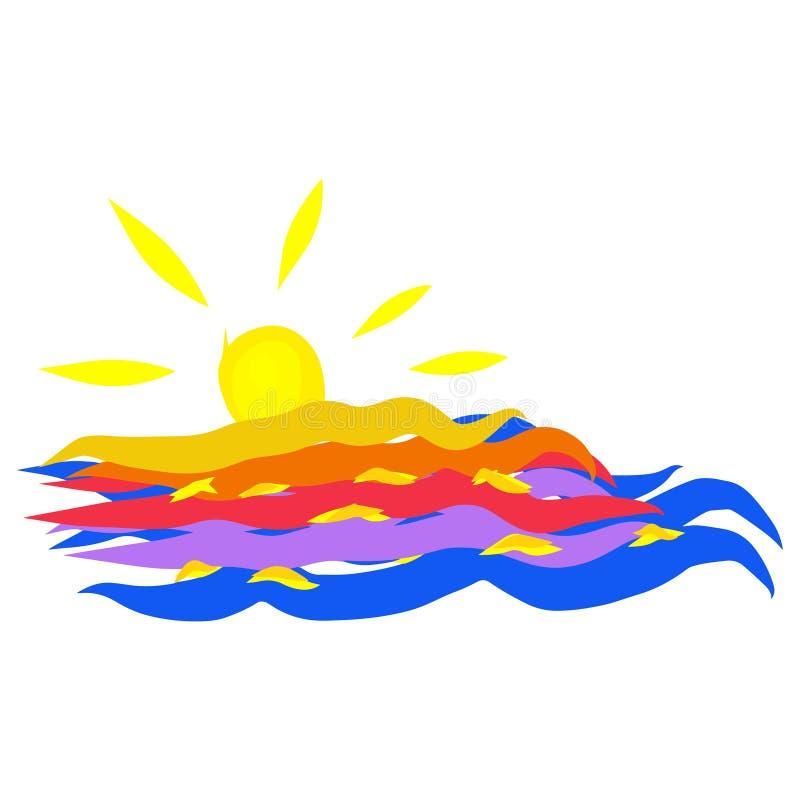 海景日落夏天五颜六色的传染媒介例证背景  库存照片