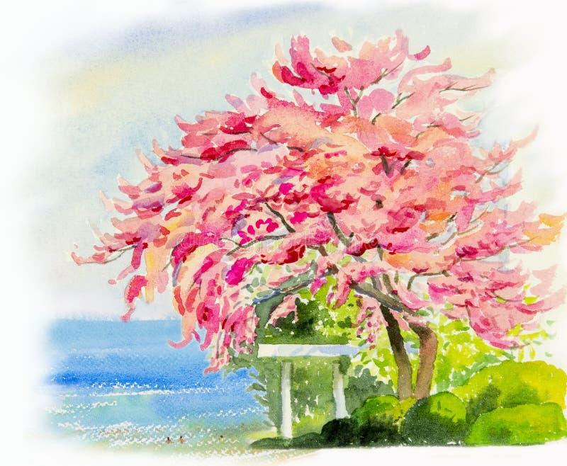海景绘五颜六色桃红色开花树和家庭 向量例证