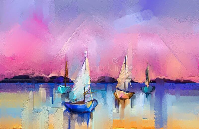 海景绘画的印象主义图象有阳光背景 现代艺术与小船,在海的风帆的油画 皇族释放例证