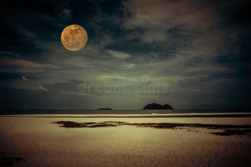 海景美丽的热带海滩在夜 在黑暗的天空的有吸引力的明亮的满月与多云 平静自然背景 免版税库存图片