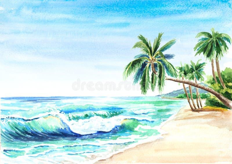 海景 与金黄沙子、波浪和palmes的夏天热带海滩 手拉的水平的水彩例证 皇族释放例证