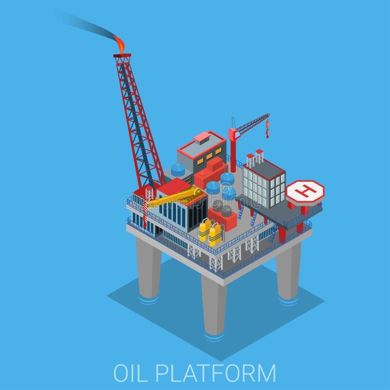 海有停机坪的油萃取平台 向量例证