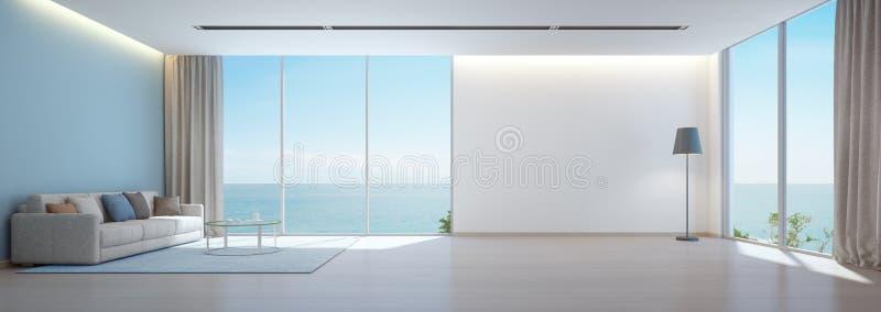 海有木地板的视图客厅和在豪华海滨别墅,别墅现代内部里倒空白色墙壁背景 皇族释放例证