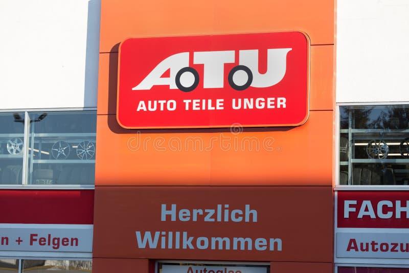 海格尔,黑森/德国- 17 11 18:在一个大厦的atu标志在haiger德国 图库摄影