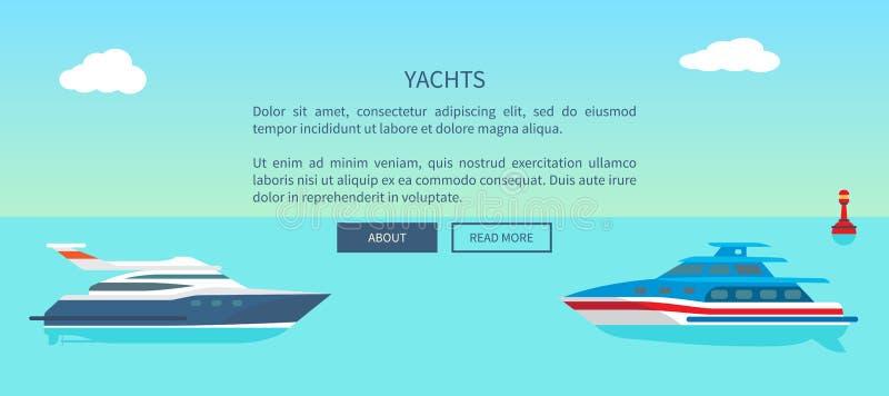 海步行和小船旅行促进的现代游艇 向量例证