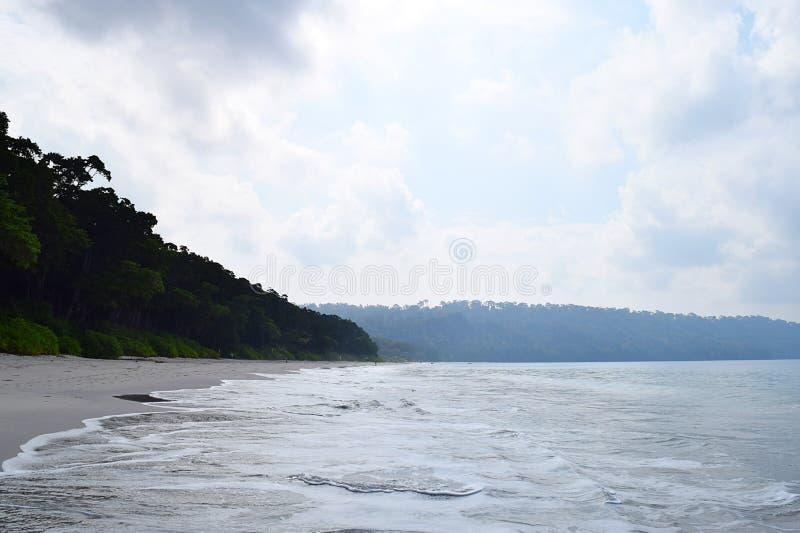 海水、平安的海滩、绿色森林和露天-在Radhanagar海滩、安达曼&尼科巴群岛,印度的自然风景 免版税库存图片