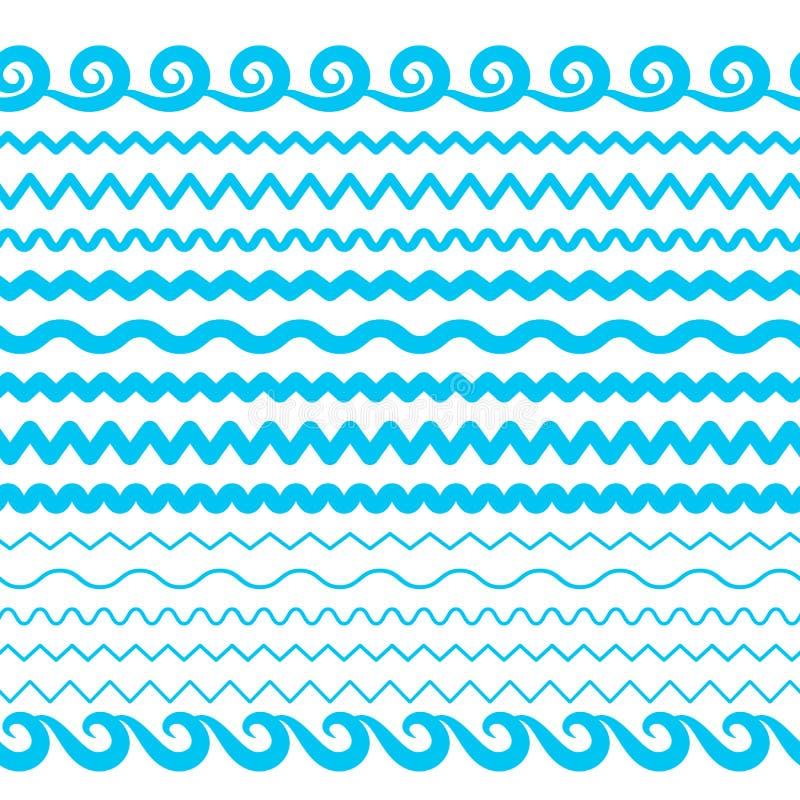 海水波向量无缝的边界、水色元素或者浪潮线 库存例证