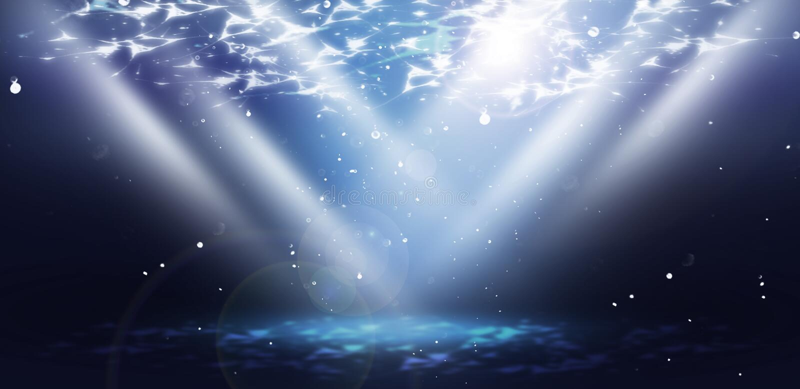 海水的深度,水下的世界,太阳的光芒 皇族释放例证