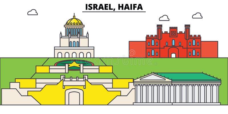 海法以色列 城市地平线,建筑学,大厦,街道,剪影,风景,全景,地标 编辑可能 向量例证