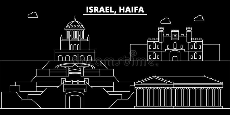 海法剪影地平线 以色列-海法传染媒介城市,以色列线性建筑学,大厦 海法旅行例证 库存例证